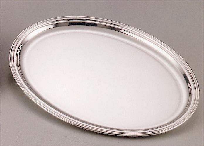 Silber Tablett Fadenrand oval 31 x 41 cm