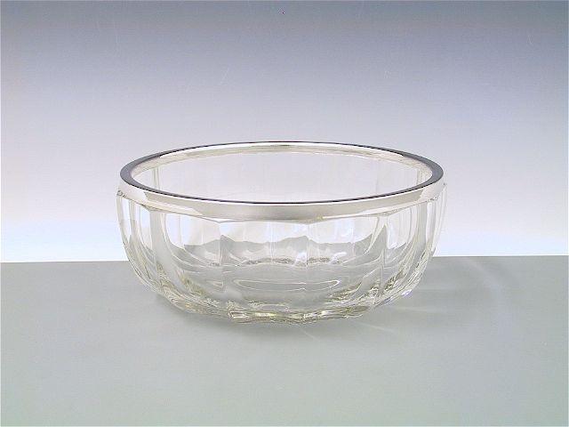 Schale Kristall mit Silberrand 17 cm
