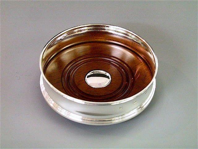 Silber Flaschenteller mit Holz konkav