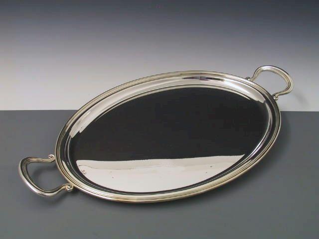 Silbertablett Fadenrand 44x33 cm mit Griffen