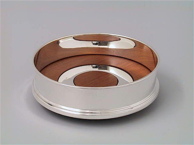 Silber Flaschenteller mit Holz und Ring