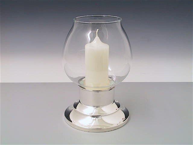 Silber Windlicht mit schmaler Kerze