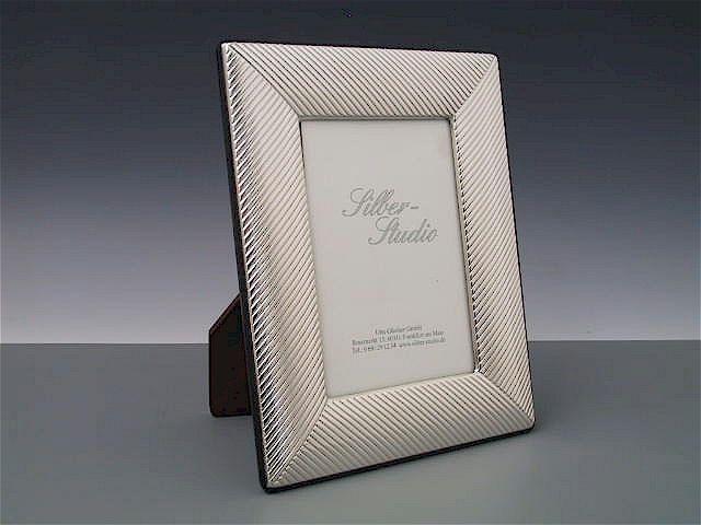 Silberrahmen gestreift 9x13 cm