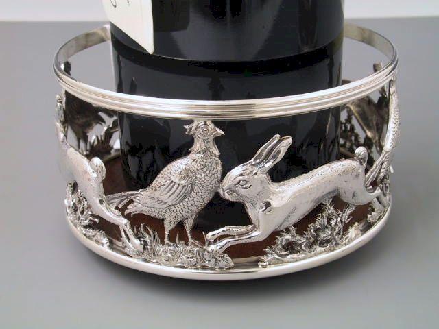 Flaschenuntersetzer Hase und Fasan Silber