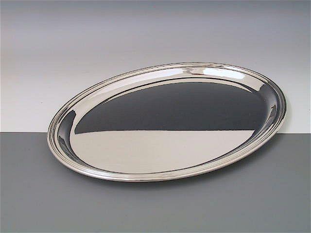 Silber Tablett Fadenrand oval 33,5 x 25 cm