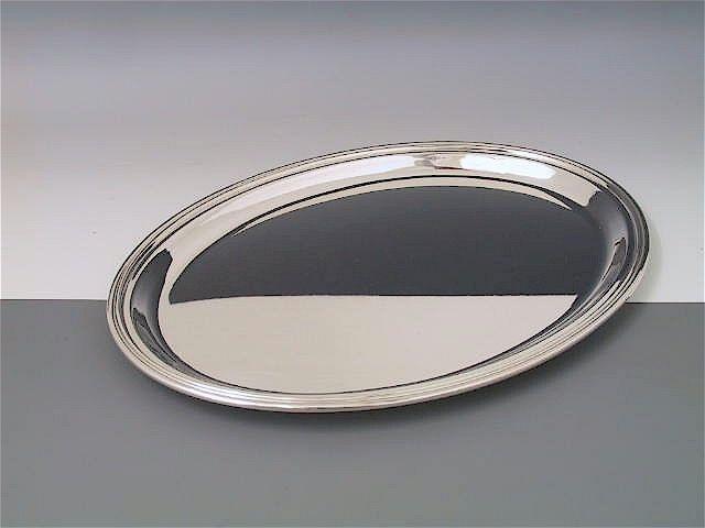 Silbertablett Fadenrand oval 27 x 36 cm