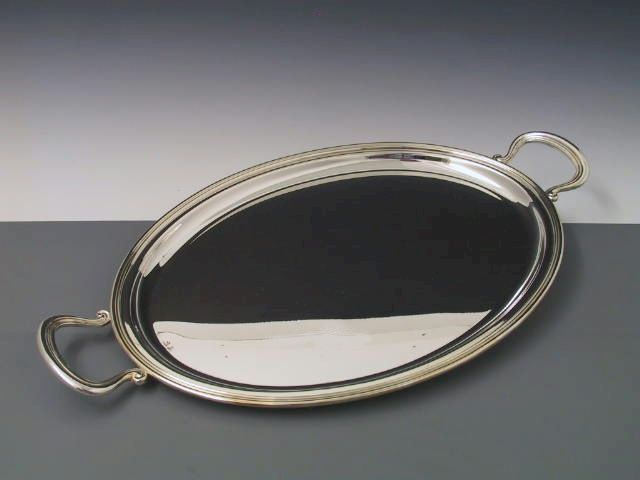 Silbertablett Fadenrand 27x36 cm mit Griffen