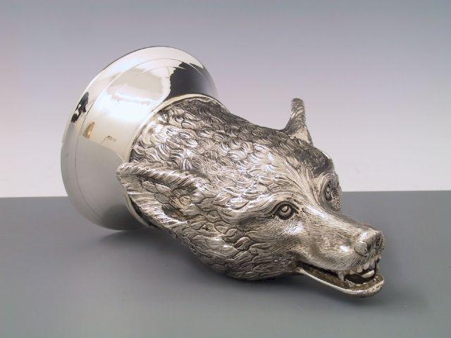 Silber Jagdbecher Wolf