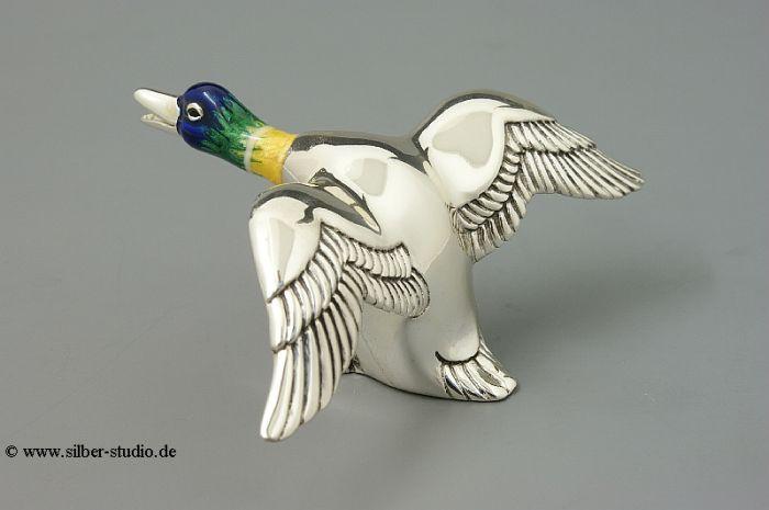 Silber Ente fliegend