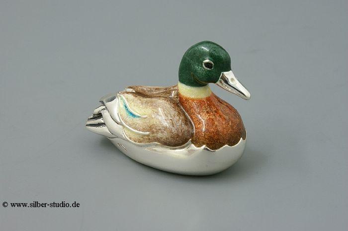 Silber Ente schwimmend mittlere Größe