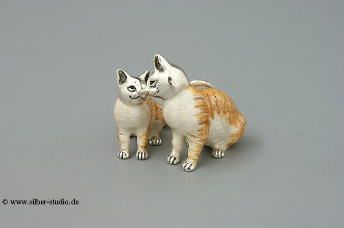 Silber Katzenpaar klein
