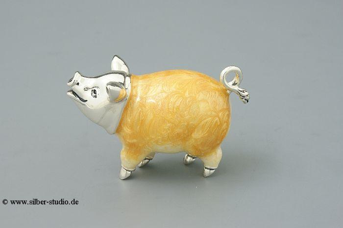 Silber Schwein emailliert