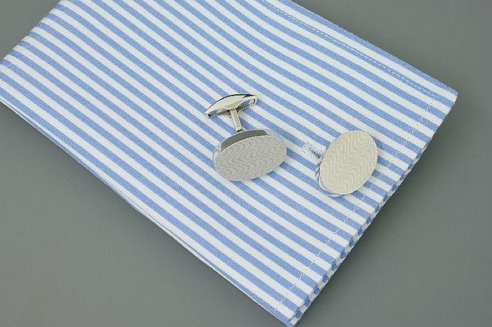Silber Manschettenknöpfe oval mit Guilloche