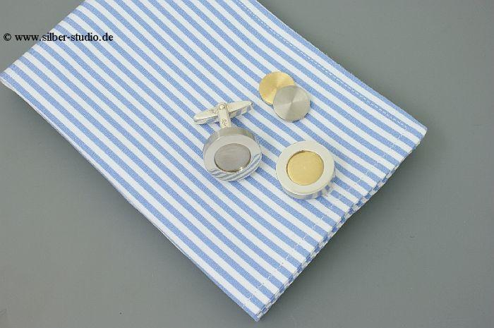 Silber Manschettenknöpfe mit Edelstahl rund