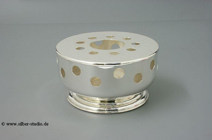 Silber Stövchen rund mit Lochung