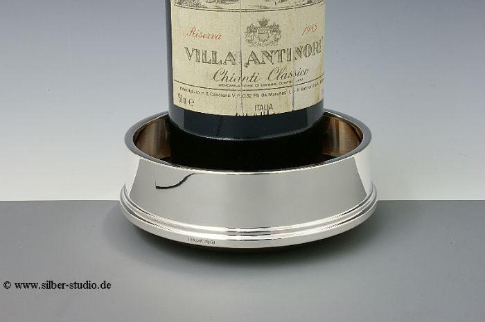 Silber Flaschenteller mit Holz gerader Rand