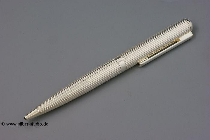 Silber Kugelschreiber dick Fadenguilloche