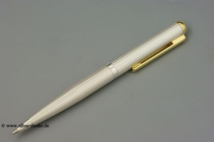 Silber Kugelschreiber dick Fadenguilloche + Goldclip