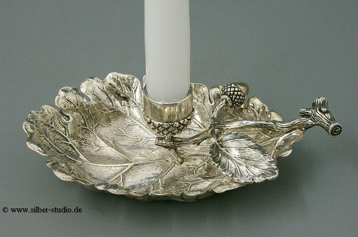 Silberleuchter Blattform