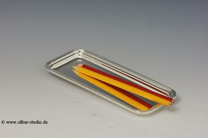 Stifte Tablett echt Silber 19x7,5 cm