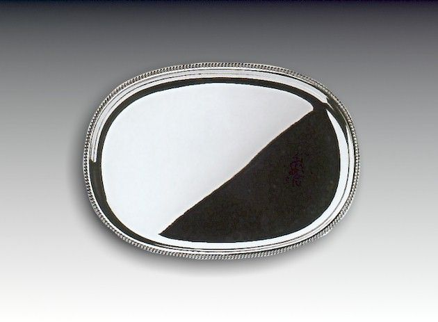 Silber Tablett Kordelrand 33x24 cm