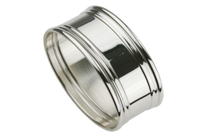 Silber Serviettenring breiter Fadenrand oval