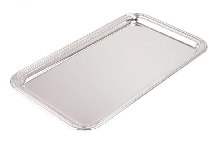 Tablett rechteckig versilbert 31x18 cm