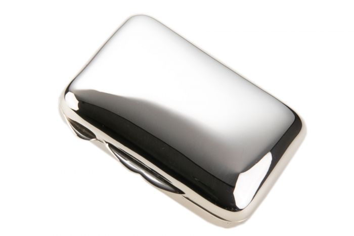 Silber Pillendose glatt rechteckig