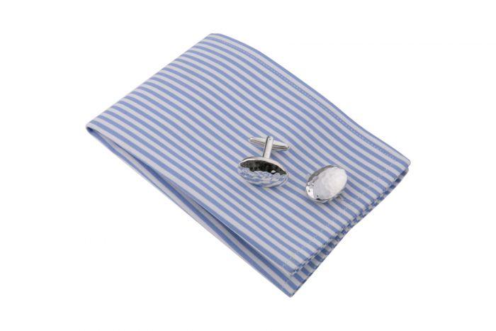 Sterling-Silber Manschettenknöpfe oval mit Hammerschlag