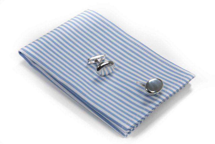 Silber Manschettenknöpfe oval