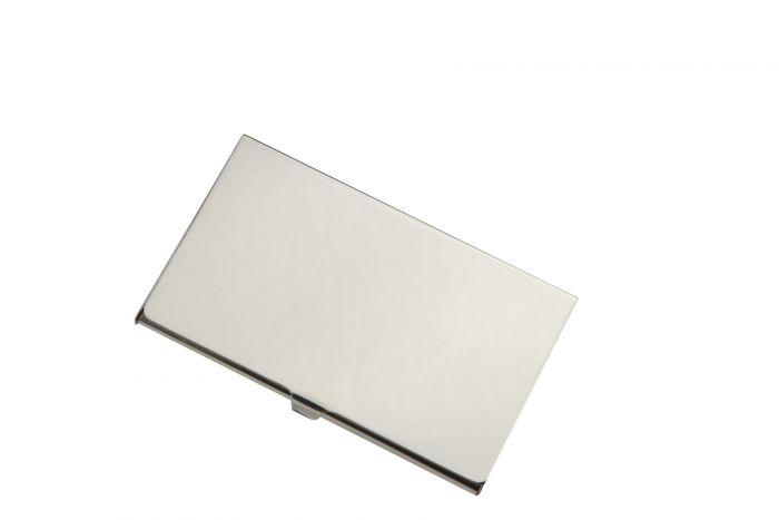 Silber Visitenkartenetui glatt mit Klappdeckel