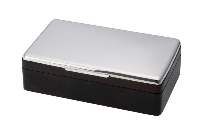 Silberdose glatt mit Holz 8x14 cm