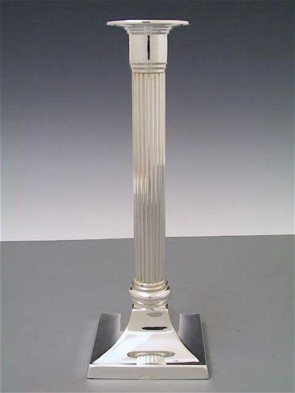 Silber Kerzenleuchter quadratisch Riefen 21 cm