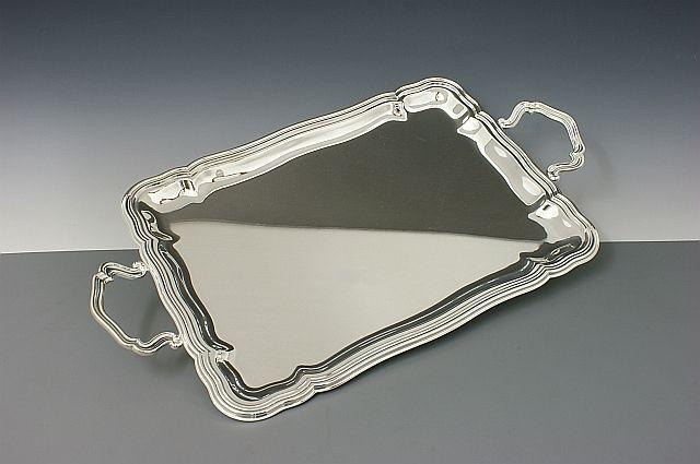 Tablett Barock versilbert rechteckig 41x30 cm
