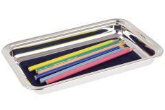 Schreibtablett Taschenleerer versilbert mit Stiften