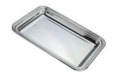 Schreibtablett Silber rechteckig Fadenrand 20x14 cm