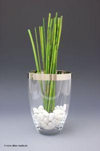 Vase Kristall Platin Rand 20 cm