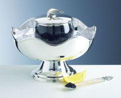 Kaviarschale auf Fuss gehämmert Sterling-Silber