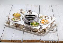 Kaviarschale mit Tablett und Schälchen in Sterling-Silber