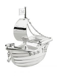 Spardose Sparbüchse Piratenschiff versilbert
