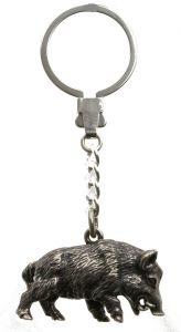 Schlüsselanhänger Wildschwein Keiler Sterling-Silber