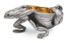 Salzfass Frosch mit Schneckenhaus versilbert