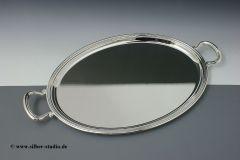 Tablett versilbert oval 45 x 34 cm mit Griffen
