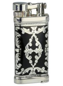 Sillems Feuerzeug Old Boy Sterling-Silber 925/000 + Emaille schwarz