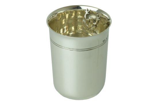 Sterling-Silber Taufbecher Kinderbecher mit Frosch in der Innenseite